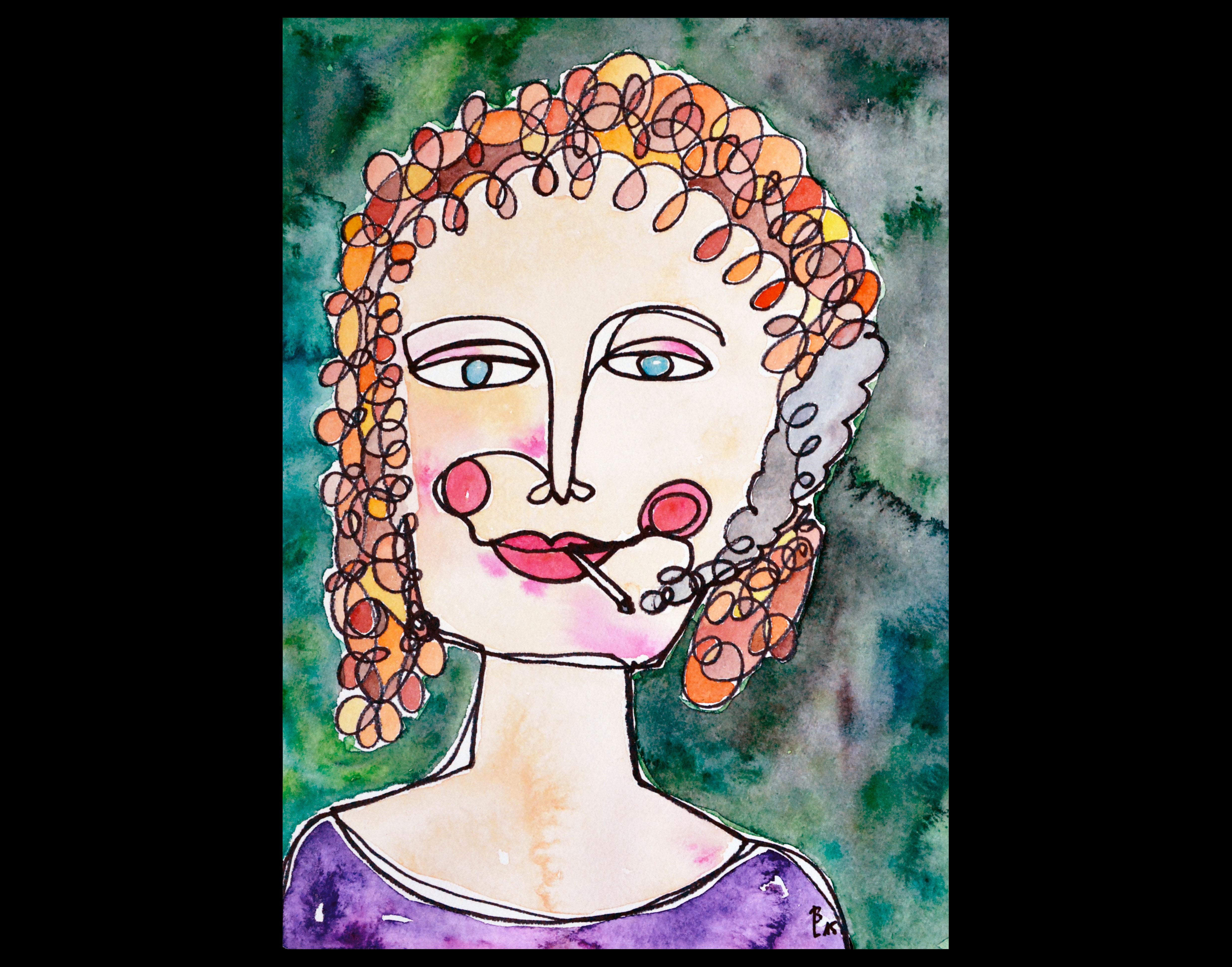 Frau mit Zigarette 1